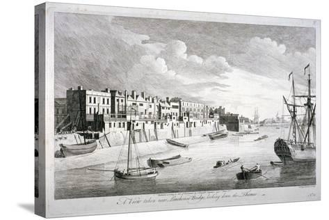 View Near Limehouse Bridge, London, Looking Down the River Thames, 1751-John Boydell-Stretched Canvas Print