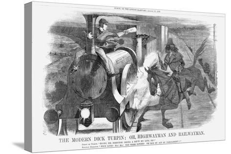 The Modern Dick Turpin; Or, Highwayman and Railwayman, 1868-John Tenniel-Stretched Canvas Print