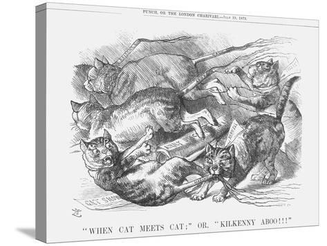 When Cat Meets Cat or Kilkenny Aboo!!!, 1879-Joseph Swain-Stretched Canvas Print