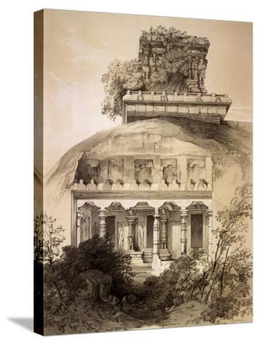 Cave with Structural Vimana, Mahavellipore-John Weale-Stretched Canvas Print