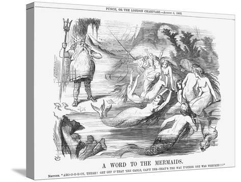 A Word to the Mermaids, 1865-John Tenniel-Stretched Canvas Print