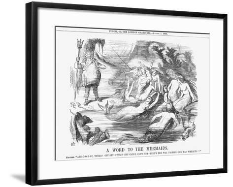 A Word to the Mermaids, 1865-John Tenniel-Framed Art Print