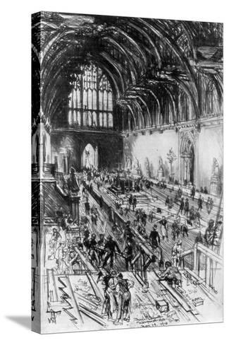 The Workmen in Possession, Westminster Hall, London, 1910-Joseph Pennell-Stretched Canvas Print
