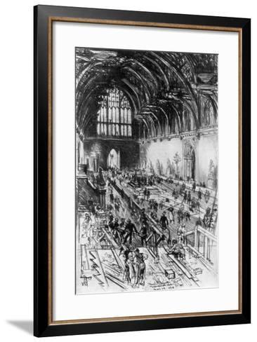 The Workmen in Possession, Westminster Hall, London, 1910-Joseph Pennell-Framed Art Print