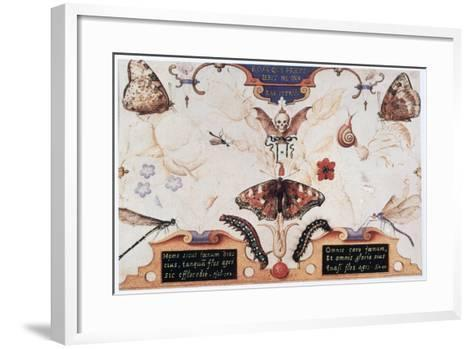 Diptych with Flowers and Insects, 1591-Joris Hoefnagel-Framed Art Print