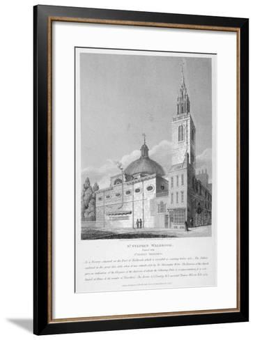North-West View of the Church of St Stephen Walbrook, City of London, 1813-Joseph Skelton-Framed Art Print