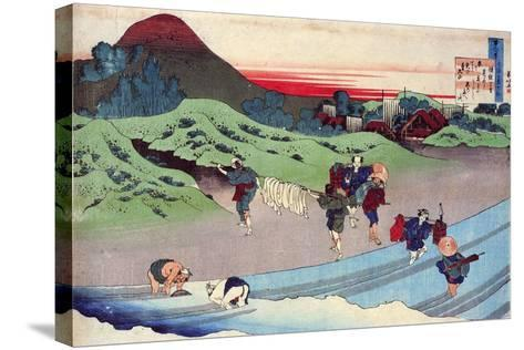 From the Series Hundred Poems by One Hundred Poets: Jito Tenno, C1830-Katsushika Hokusai-Stretched Canvas Print