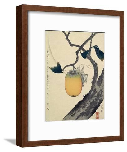 Moon, Persimmon and Grasshopper, 1807-Katsushika Hokusai-Framed Art Print
