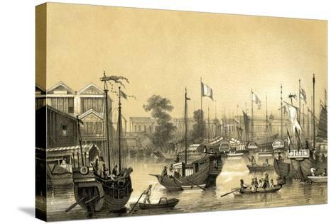 The English Factories at Canton, 1847-JW Giles-Stretched Canvas Print