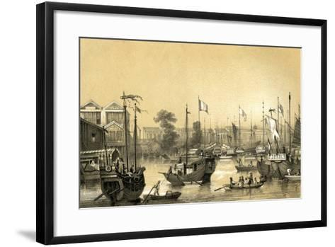 The English Factories at Canton, 1847-JW Giles-Framed Art Print