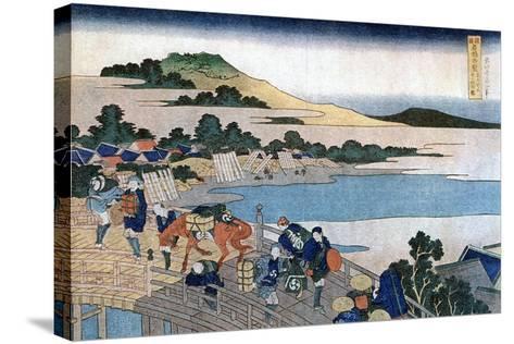 Fukui Bridge, Province of Echizen, C1785-1849-Katsushika Hokusai-Stretched Canvas Print
