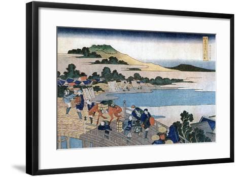 Fukui Bridge, Province of Echizen, C1785-1849-Katsushika Hokusai-Framed Art Print