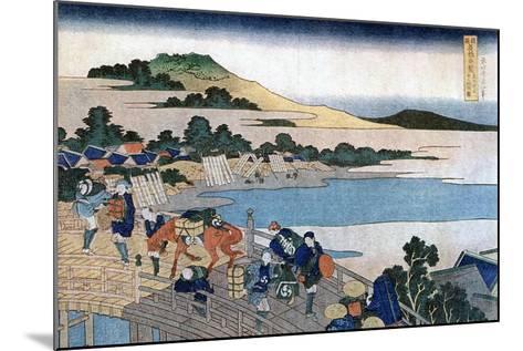 Fukui Bridge, Province of Echizen, C1785-1849-Katsushika Hokusai-Mounted Giclee Print