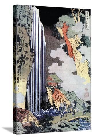 Ono Waterfall Along the Kisokaido, C1780-1849-Katsushika Hokusai-Stretched Canvas Print