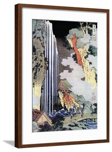 Ono Waterfall Along the Kisokaido, C1780-1849-Katsushika Hokusai-Framed Art Print