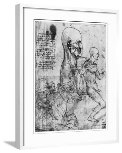 Profile of a Man's Head and Studies of Two Riders, C1490 and C1504-Leonardo da Vinci-Framed Art Print