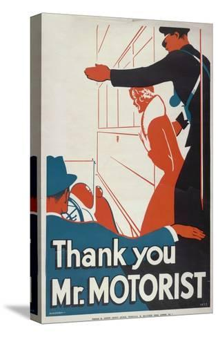 Thank You Mr Motorist, London County Council (LC) Tramways Poster, 1933-JS Anderson-Stretched Canvas Print