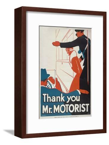 Thank You Mr Motorist, London County Council (LC) Tramways Poster, 1933-JS Anderson-Framed Art Print
