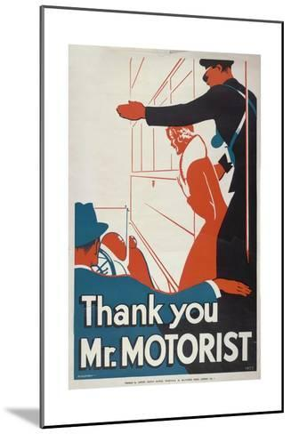 Thank You Mr Motorist, London County Council (LC) Tramways Poster, 1933-JS Anderson-Mounted Giclee Print