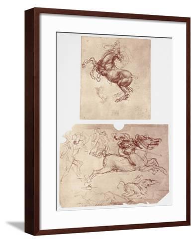 Horse Rearing, and Horsemen and Foot-Soldiers, C1504-Leonardo da Vinci-Framed Art Print