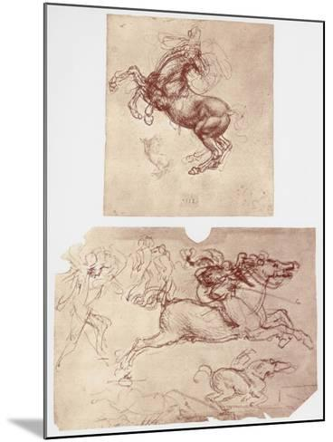 Horse Rearing, and Horsemen and Foot-Soldiers, C1504-Leonardo da Vinci-Mounted Giclee Print