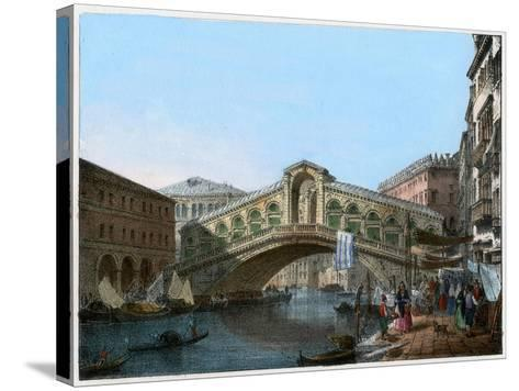 Rialto Bridge, Venice, Italy, 19th Century- Kirchmayn-Stretched Canvas Print