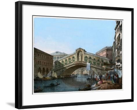 Rialto Bridge, Venice, Italy, 19th Century- Kirchmayn-Framed Art Print
