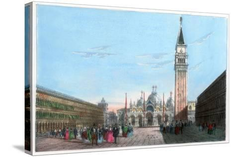 St Mark's Square, Venice, Italy, 19th Century- Kirchmayr-Stretched Canvas Print
