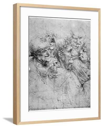 Study of Five Grotesque Heads, C1494-Leonardo da Vinci-Framed Art Print