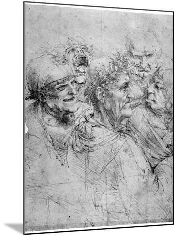 Study of Five Grotesque Heads, C1494-Leonardo da Vinci-Mounted Giclee Print