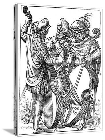 A Violinist and Two Cellists, 16th Century-Jost Amman-Stretched Canvas Print