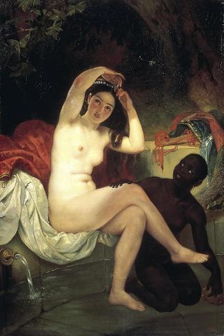 Bathing Bathsheba, 1832-Karl Briullov-Stretched Canvas Print