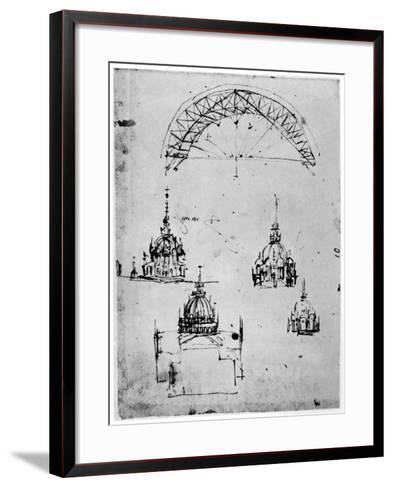 Studies for the Central Cupola of Milan Cathedral, Late 15th Century-Leonardo da Vinci-Framed Art Print