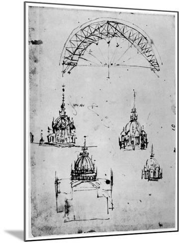 Studies for the Central Cupola of Milan Cathedral, Late 15th Century-Leonardo da Vinci-Mounted Giclee Print