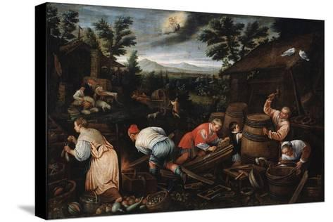 August' (From the Series 'The Seasons), Late 16th or Early 17th Century-Leandro Bassano-Stretched Canvas Print