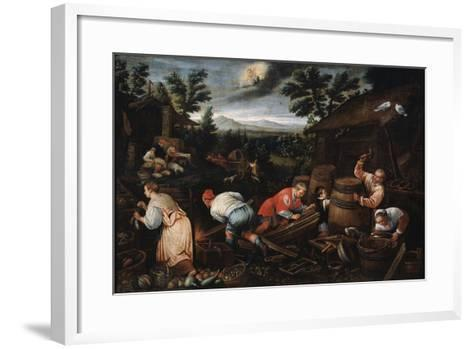 August' (From the Series 'The Seasons), Late 16th or Early 17th Century-Leandro Bassano-Framed Art Print