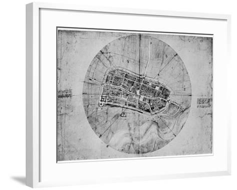 Plan of Imola, Italy, C1502-Leonardo da Vinci-Framed Art Print