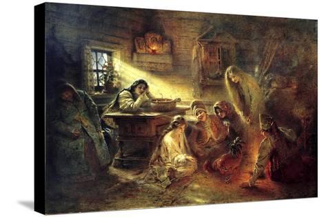 Christmas Eve Fortune Telling, 19th Century-Konstantin Makovsky-Stretched Canvas Print