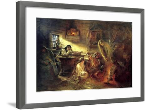 Christmas Eve Fortune Telling, 19th Century-Konstantin Makovsky-Framed Art Print