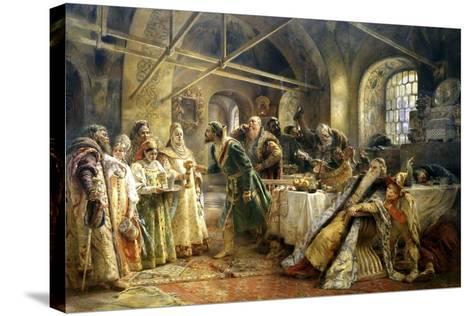 The Kiss Ceremony, 1895-Konstantin Makovsky-Stretched Canvas Print