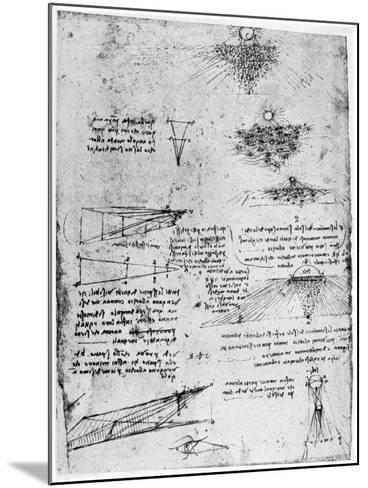 Reflections of the Sun on Water, Late 15th or Early 16th Century-Leonardo da Vinci-Mounted Giclee Print