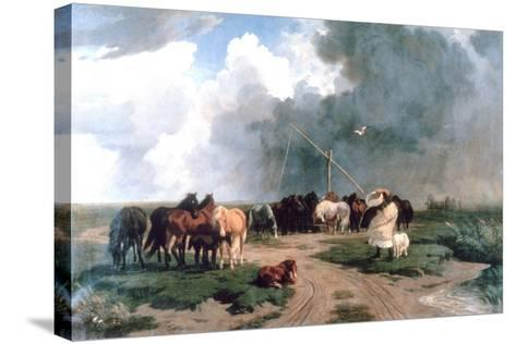 Horses in the Storm, 1862-Karoly Lotz-Stretched Canvas Print