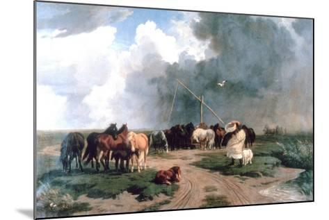 Horses in the Storm, 1862-Karoly Lotz-Mounted Giclee Print