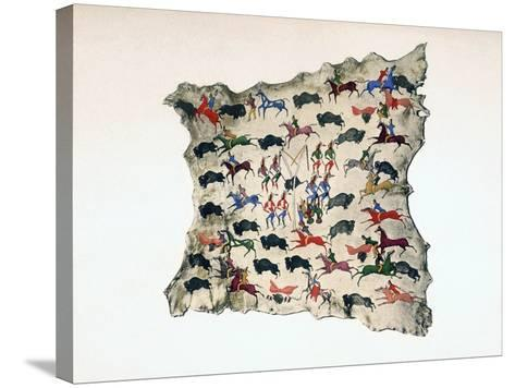 Moose Skin by North American Shoshone Indian, Showing Buffalo Hunt, 20th Century- Katsikodi-Stretched Canvas Print