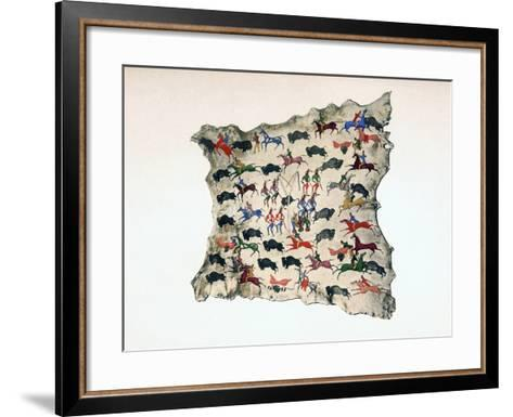 Moose Skin by North American Shoshone Indian, Showing Buffalo Hunt, 20th Century- Katsikodi-Framed Art Print
