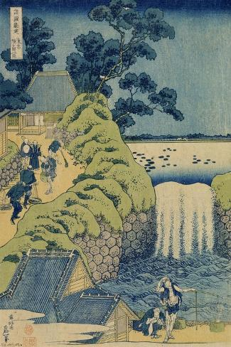 Waterfall Aigaoka (From the Series Waterfalls of the Various Province), C1829-Katsushika Hokusai-Stretched Canvas Print