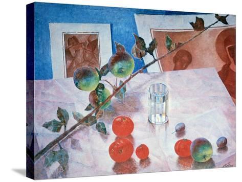 Still Life in Pink, 1918-Kuz'ma Petrov-Vodkin-Stretched Canvas Print