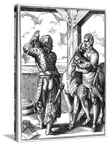 Butcher, 16th Century-Jost Amman-Stretched Canvas Print