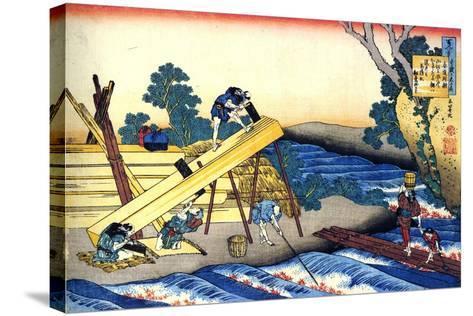 From the Series Hundred Poems by One Hundred Poets: Harumichi No Tsuraki, C1830-Katsushika Hokusai-Stretched Canvas Print