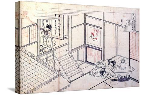 From the Series Hundred Poems by One Hundred Poets: Shikishi Naishinno, C1830-Katsushika Hokusai-Stretched Canvas Print